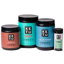 Perfect Keto Starter Bundle for Ketogenic Diet - Best to Burn Fat and Support Energy - Exogenous Ketone Base, MCT Oil Powder, Grass-Fed Keto Collagen and Ketone Testing Strips (Chocolate)
