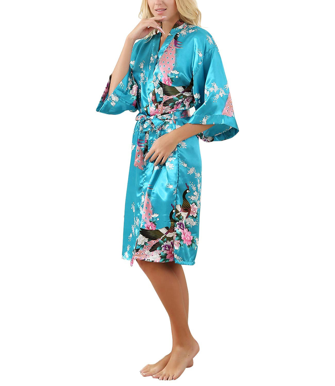 Plus Size Satin Kimono Robe for Women Full Length Silk Printed Peacock Robe Long for Wedding Bridesmaid Party