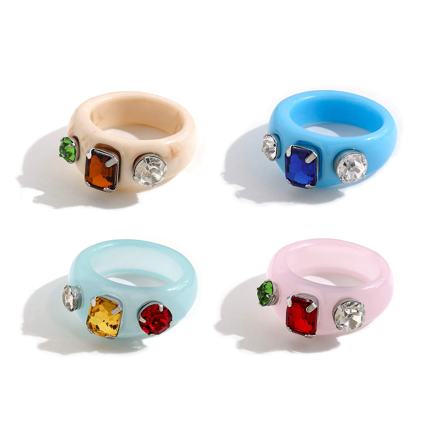 sloong 4pcs Y2K Style Chunky Retro Resin Acrylic Ring Plastic Rings Kids Ring Cute Colorful Candy Ring Finger Ring Jewelry Transparent Handmade Trendy Rings for Women Girls Children