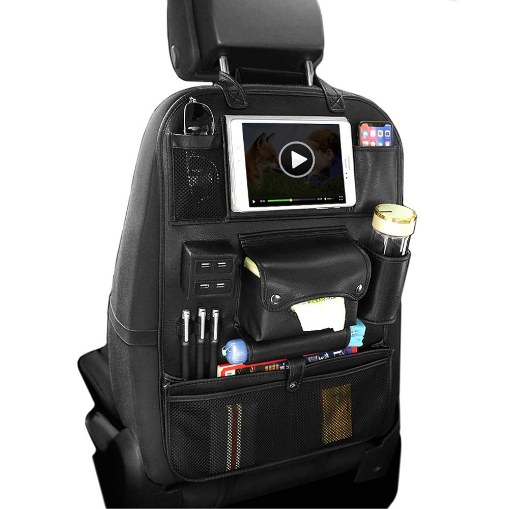 FANSONG Multi-function Leather Car Backseat Organizer Holder with 4 USB Charging Ports for Cell Phone Tablet Charger Waterproof Pockets Storage Bag - Black