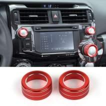 JeCar Audio Knob Cover Audio Switch Knob Decoration Aluminum Alloy 4Runner Accessory Trim for Toyota 4Runner 2010 2011 2012 2013 2014 2015 2016 2017 2018 2019 Red 2Pcs