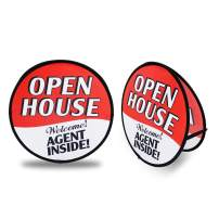 QSUM Red Open House Sign for Real Estate Yard Signs Pop Up Flag Kit with Ground Stake & Travel Bag | Open House Yard Flag for Agents