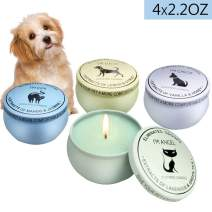 BAG WIZARD Eco-Friendly 100% Soy Wax Candle Pet Odor Eliminator Reusable Tin Jar Scented Candles Home Pet Candle, Up to 12 Hours Burn Time,4 Packs/Box (Beige)