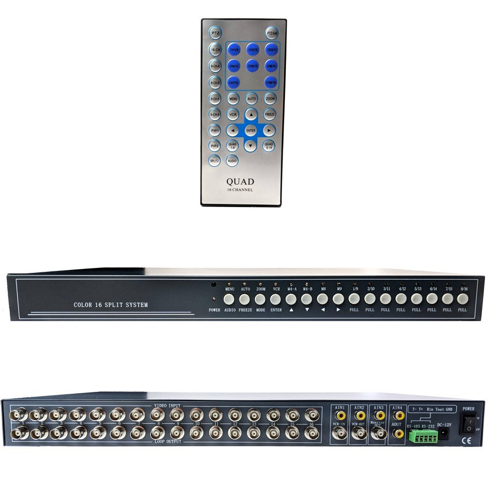 CCTV Camera Pros VM-16RT BNC Video Mux | 16 Channel CCTV Security Camera Multiplexer | Real-time Live Streaming Refresh Rate | Monitor Spot/Loop Out