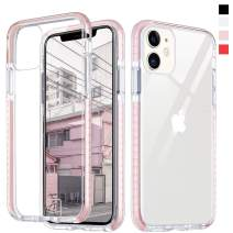 Inbeage Hybrid Designed Transparent iPhone 11 Case Crystal Hard Back with Soft Colorful Bumper Full Protection Cover Clear iPhone 11 Case 6.1 inch (Baby Pink)