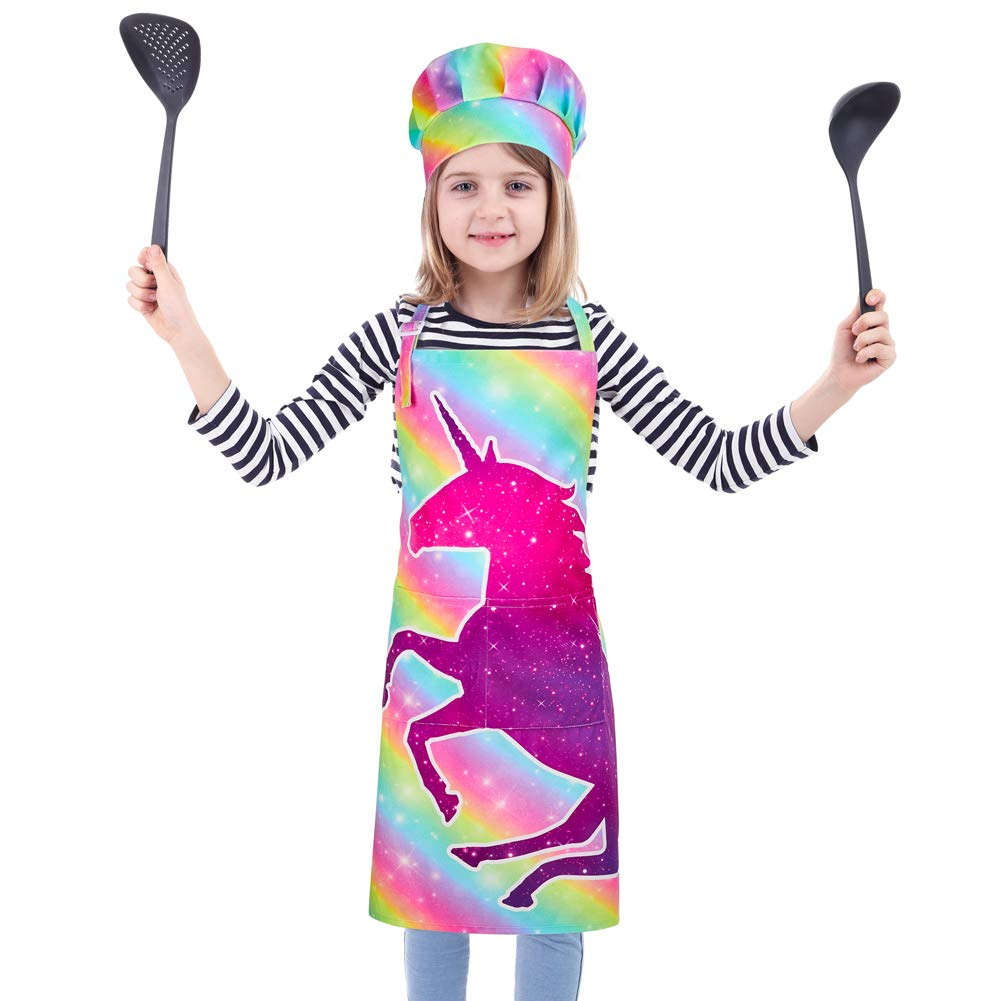 Kids Apron and Chef Hat Set, Kids Chef Costume, for Boys Girls Baking Gardeing Painting Role Play (Age 3-12), Rainbow Unicorn, L