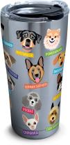 Tervis 1261381 Flat Art - Dogs Stainless Steel Tumbler with Clear and Black Hammer Lid 20oz, Silver