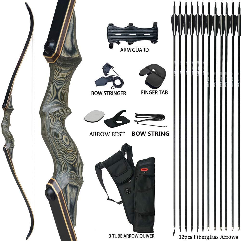 "50lb Archery 51/"" Takedown Recurve Bow Set 12x Arrows Broadheads Adult Right Hand"
