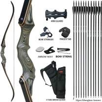 D&Q Archery Recurve Bow and Arrow 60'' Takedown Bow for Adults Wooden Riser Right Hand Hunting Survival Bow 20-60lbs Archery Set with 12pcs Fiberglass Arrows