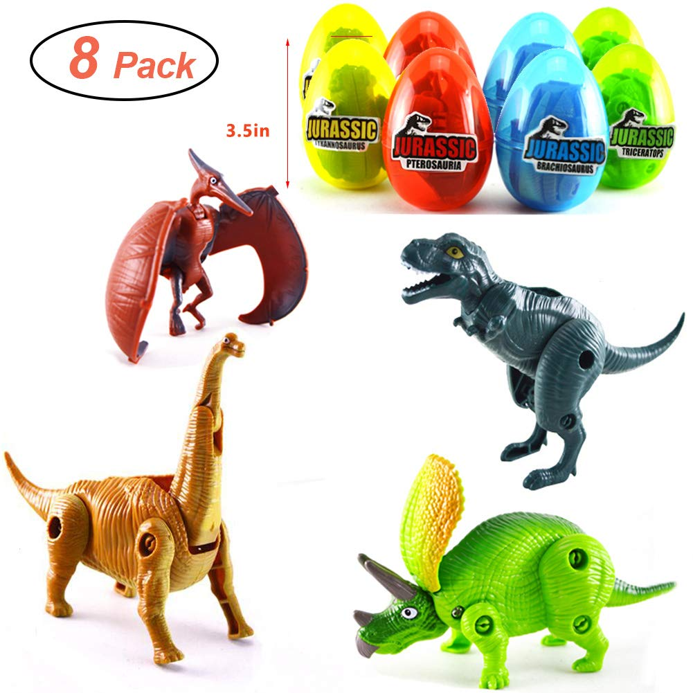 """MIGE 8 Pack 3.5"""" Jumbo Dinosaur Easter Eggs with Dinosaur Toys Filled for Kids Boys Girls Toddlers Easter Gifts Easter Party Favors Supplies Easter Basket Stuffers Fillers…"""