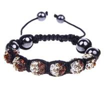 BodyJ4You Disco Ball Bracelet 6 Clear Brown Beads Pave Crystals Adjustable Wrist Iced Out Jewelry