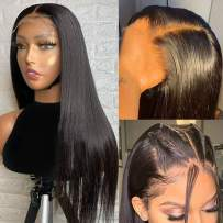 ALTERYOU Lace Front Wigs Human Hair for Black Women 150% Density 11A Brazilian 4×4 Straight Human Hair Lace Front Wigs Pre Plucked with Baby Hair Natural Hairline Wigs(18Inches)