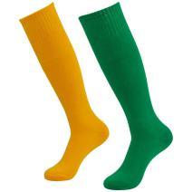 Three street Unisex Knee High Solid Sport Tube Compression Soccer Socks 2-10 Pairs