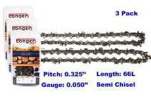 16 Inch Chainsaw 0.325'' Pitch 0.050'' Gauge Semi Chisel Sawchain 66 Drive Links (3 PACK)