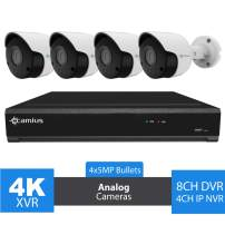Camius 8 Channel 4K Hybrid DVR, 4 x 5MP Indoor-Outdoor Bullet Home Security Camera System, Night Vision, Motion Detection,PC,Mac, Smartphone Remote Access, No Hard Drive, 8CH DVR (4CH NVR) - 124K45M