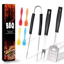 Ranphykx BBQ Grill Tool Set. 7pcs Barbecue Grilling Accessories, Includes - Stainless Steel Spatula, Fork, Tongs, Silicone Basting Brush