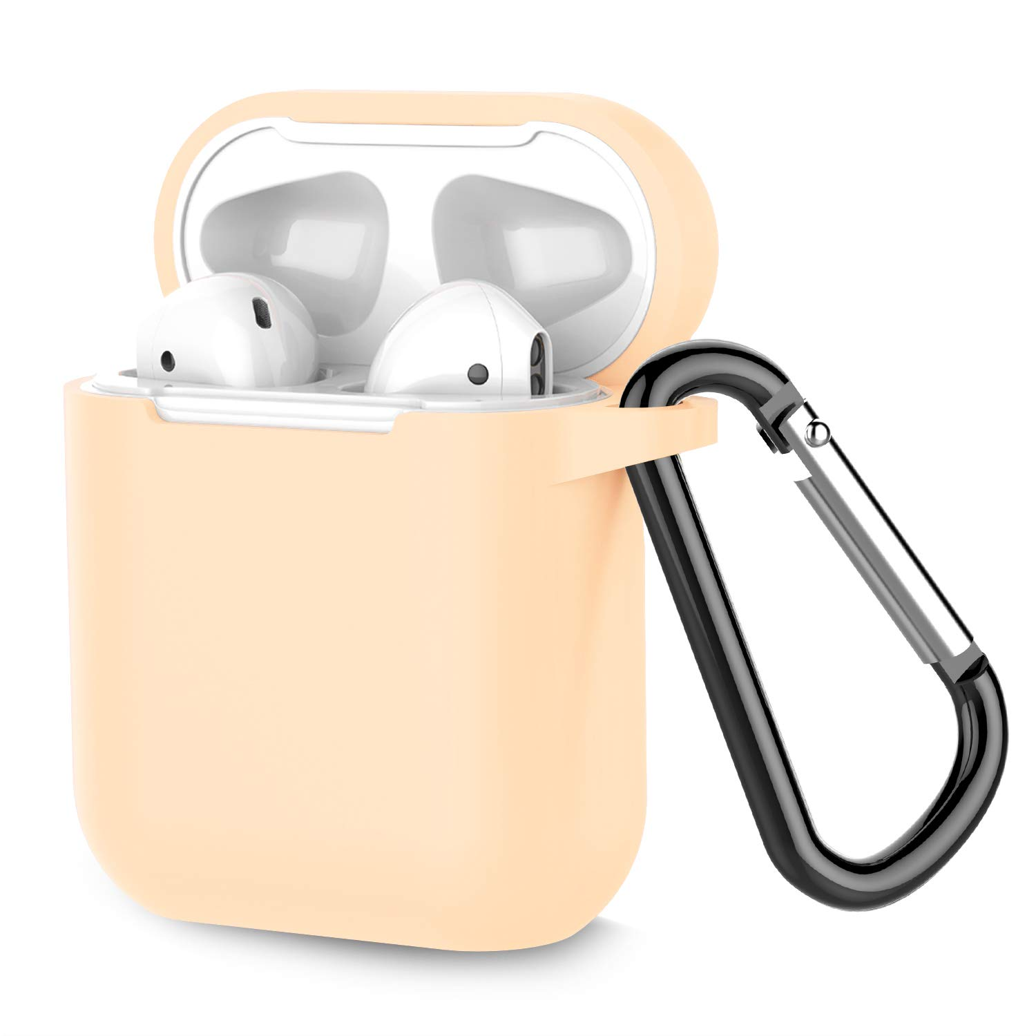 Airpods Case, Coffea AirPods Accessories Shockproof Case Cover Portable & Protective Silicone Skin Cover Case for Airpods 2 & 1 (Front LED Not Visible) - Apricot
