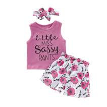 Toddler Baby Girls Fall Clothes Long Sleeve Tops T-Shirts + Floral Pants with Headband Outfit Set