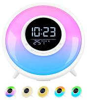 All -in-One Wake Up Light Alarm Clock with FM Radio, Sleep Sound Machine,Sleep Timer,10 Color Night Light & 23 Soothing Sounds