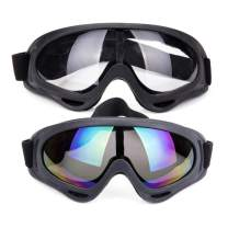 Unisex Pilot Motorcycle Goggles Ski Snowboard Anti-UV Anti-fog Protect Safety Glasses