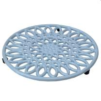 Home Basics Sunflower collection, Heavy Duty Cast Iron Trivet, Elevated base Kitchen Countertop & Dinning Room Table, (6, LIGHT BLUE)