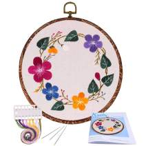 Full Range of Embroidery Starter Kit with Pattern, Kissbuty Cross Stitch Kit Including Stamped Embroidery Cloth with Pattern, Imitation Wood Embroidery Hoop, Color Threads and Tools Kit (Floral Hoop)