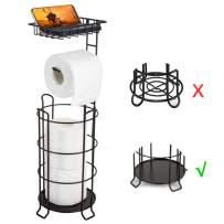 Toilet Paper Holder Stand Free Standing Bathroom Toilet Tissue Holders with Top Shelf Storage 3 Mega Rolls Black