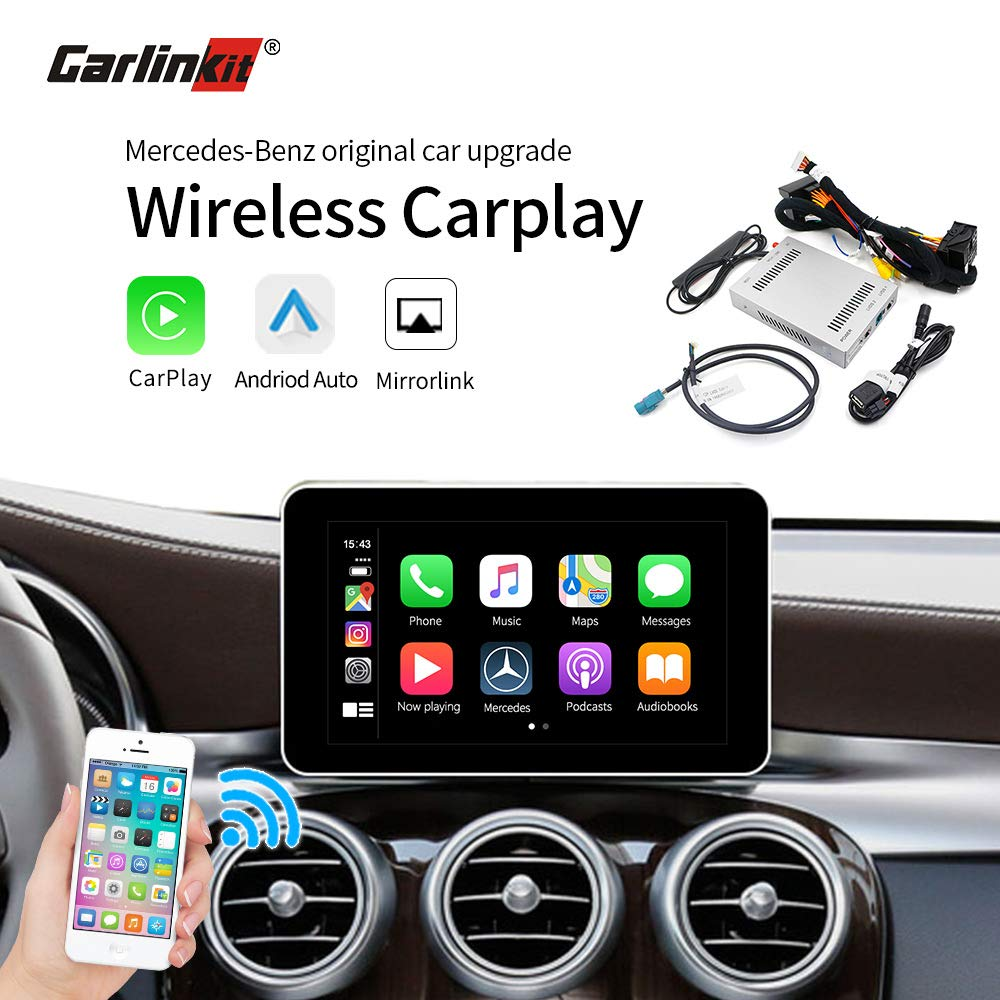 Carlinkit Wireless Carplay Android Auto Multimedia Smart Car Retrofit for Mercedes Benz NTG5.0/NTG4.5 GLA A GLC C B E CLS GLE GLS Support iOS13 Split Screen Function/AirPlay/Reverse Camera/Maps