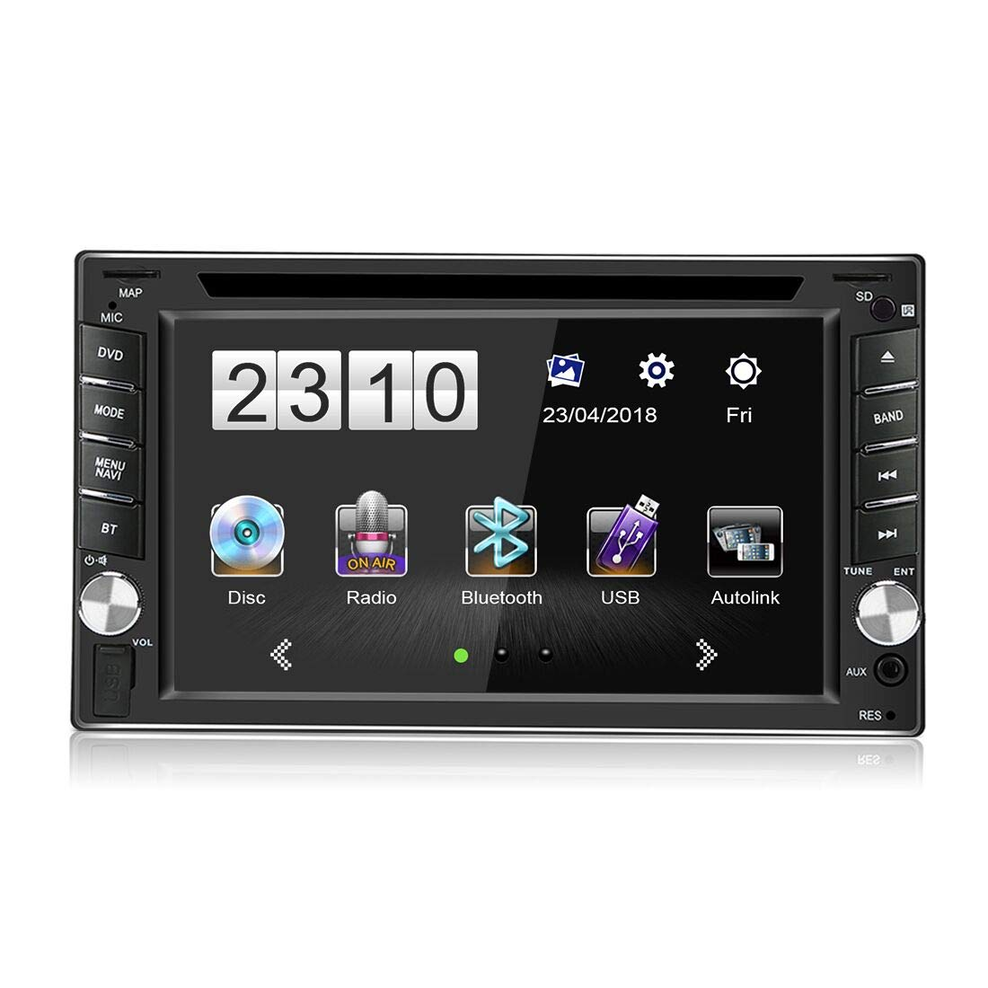 """6.2"""" Digital LCD Monitor, Double Din Bluetooth Car Audio Radio Receiver, Build-in Bluetooth MP3/MP5/USB/AM/FM/RDS Radio with Steering Wheel Control + Reversing Camera"""