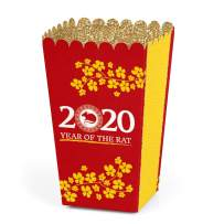 Big Dot of Happiness Chinese New Year - 2020 Year of the Rat Favor Popcorn Treat Boxes - Set of 12