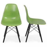 BELLEZE Premium Mid Century Style Dining Accent Molded ABS Chair Seat Eiffel, Set of (2), Green