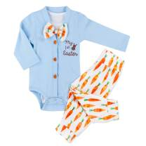 Baby Boys My 1st Easter Romper Long Sleeve Bodysuit + Radish Pants Outfit 3PCs Sets