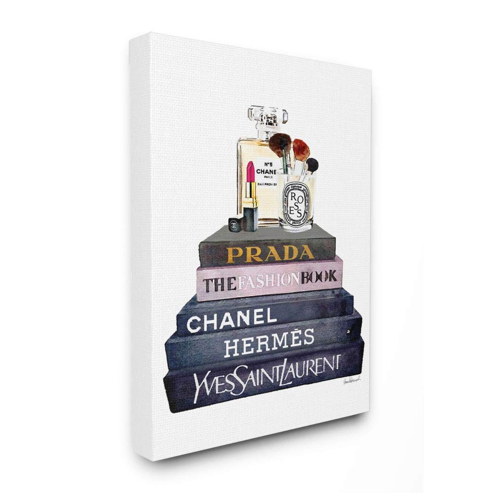 Stupell Industries Glam Fashion Book Set with Makeup Canvas Wall Art, 36 x 48, Design by Artist Amanda Greenwood