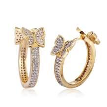 18k Gold Plated Insect Earrings Cute Cubic Zirconia Butterfly Hoop Cuff Earrings Stud Hypoallergenic