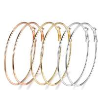 3 Pairs Flattened or Round Hoop Earrings, Gold Plated Rose Gold Plated and Silver Stainless Steel Big Hoop Earrings for Women Girls