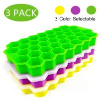 Ice Cube Trays with Lids 3 Pack, Silicone Ice Cube Molds Trays Flexible Easy Release Small Square Ice Tray 111 Cavities Food Grade Stackable Ice Mold for Whiskey, Cocktails, Reusable