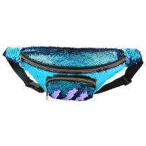 "ICOSY Unisex Mermaid Sequin Waist Pack Fanny Bag Sport Bag Outdoor Travel Crossbody Bags(14""x6"")"