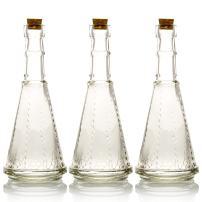 Quasimoon PaperLanternStore.com Bulk Pack (3) Marguerite Clear Vintage Glass Bottle Wedding Flower Vase