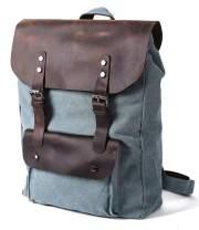 ROCKCOW Canvas Leather Travel Bag Briefcase Messenger Shoulder Bag Dufulle Bag (01# lake blue)