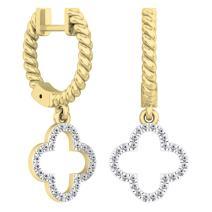 Dazzlingrock Collection 0.15 Carat (ctw) 14K Gold Round Diamond Ladies Fashion Dangling Drop Earrings