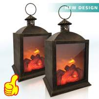 Decorative Lantern, Oriental Forest Fireplace Lanterns Lamp Battery Powered 3D Simulation Flame LED Lantern Fake Fireplace Light with 6 Hours Timer Decor for Indoors Use(2 Pack)
