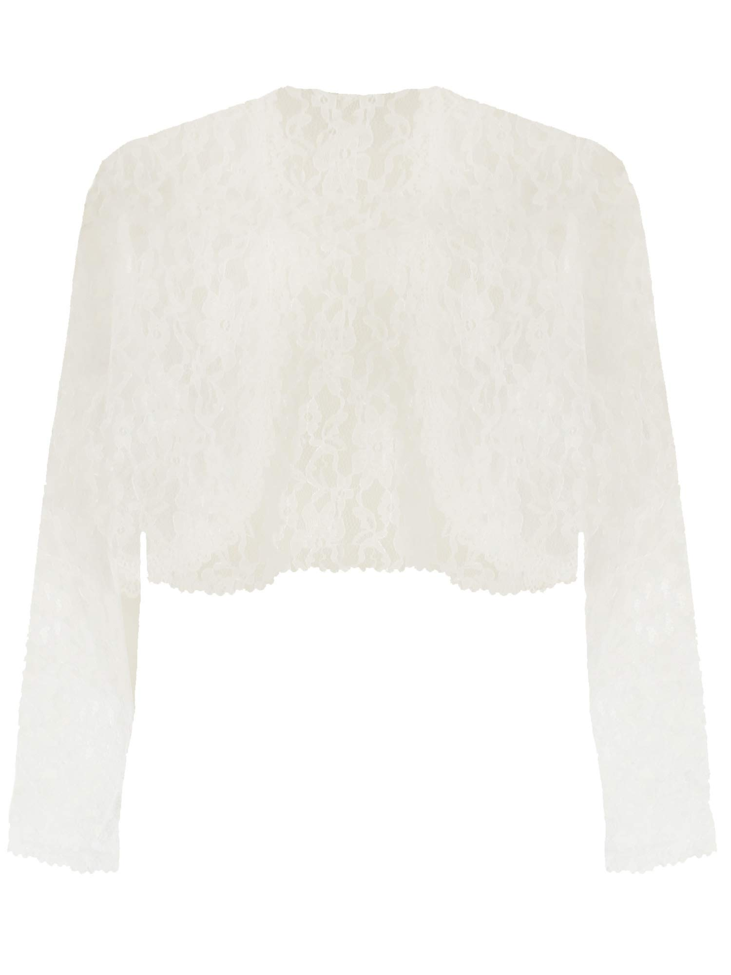 Long Sleeve Dressy Lace Cropped Bolero Shrug Jacket