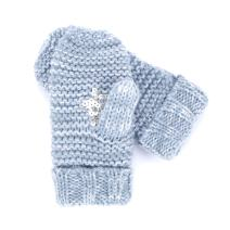 Sequin Star Mittens (fleece lining) - Marled Blue