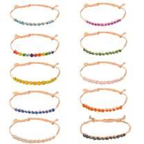 Pipitree Woven Friendship Bracelets Set for Women Girls String Handmade Wish Adujstable Lucky Waterproof Raffia Beaded Jewelry 10 Pcs