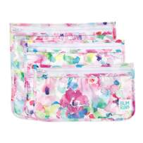 Bumkins TSA Approved Toiletry Bag, Travel Bag, PVC-Free, Vinyl-Free, Clear Front, Set of 3 - Watercolor