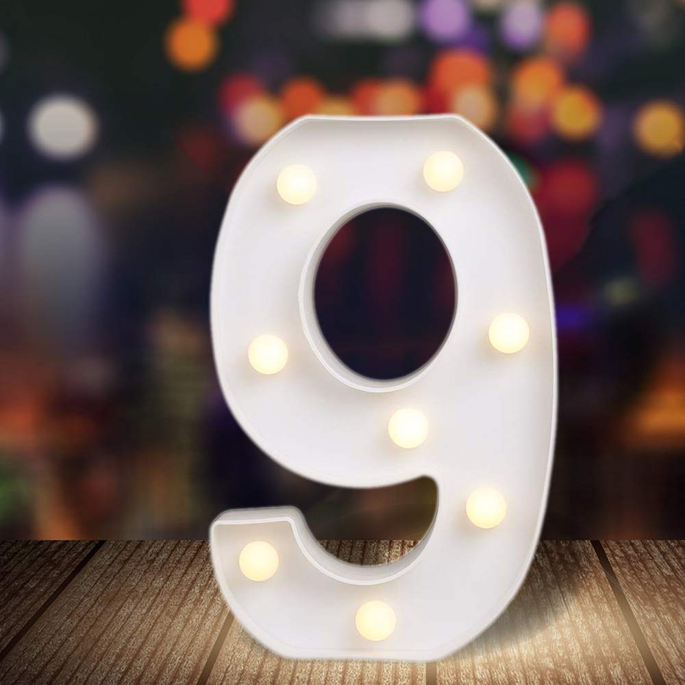 ODISTAR LED Light Up Marquee Letters, Battery Powered Sign Letter 26 Alphabet with Lights for Wedding Engagement Birthday Party Table Decoration bar Christmas Night Home,9'', White(9)