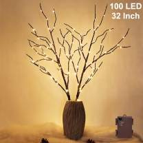 Twinkle Star 100 LED Lighted Brown Willow Branches 2 Pack Artificial Branches Waterproof Battery Operated with Timer for Indoor Outdoor Christmas Wedding Party Home Decoration (Vase Excluded)