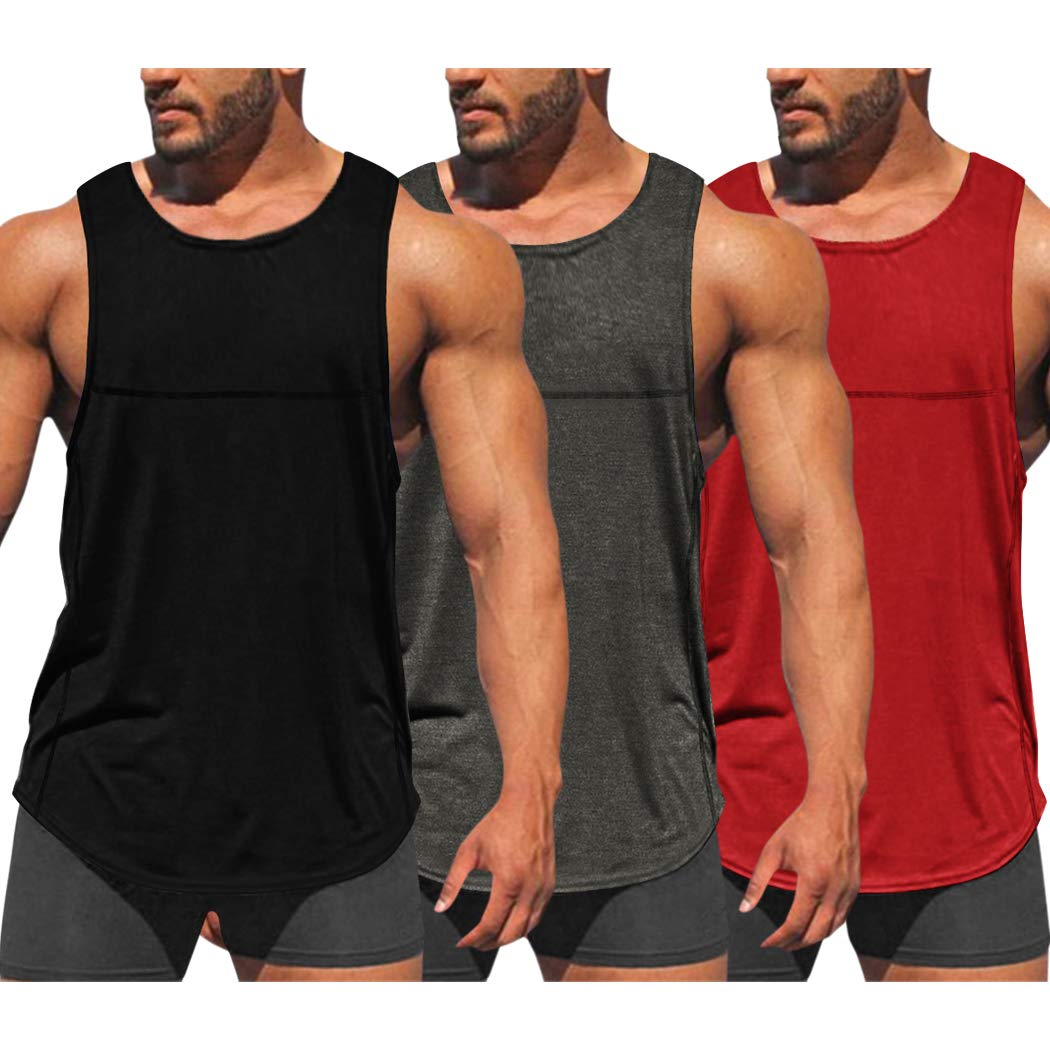 COOFANDY Men's 3 Pack Workout Tank Tops Dry Fit Gym Bodybuilding Training Fitness Sleeveless Muscle T Shirts