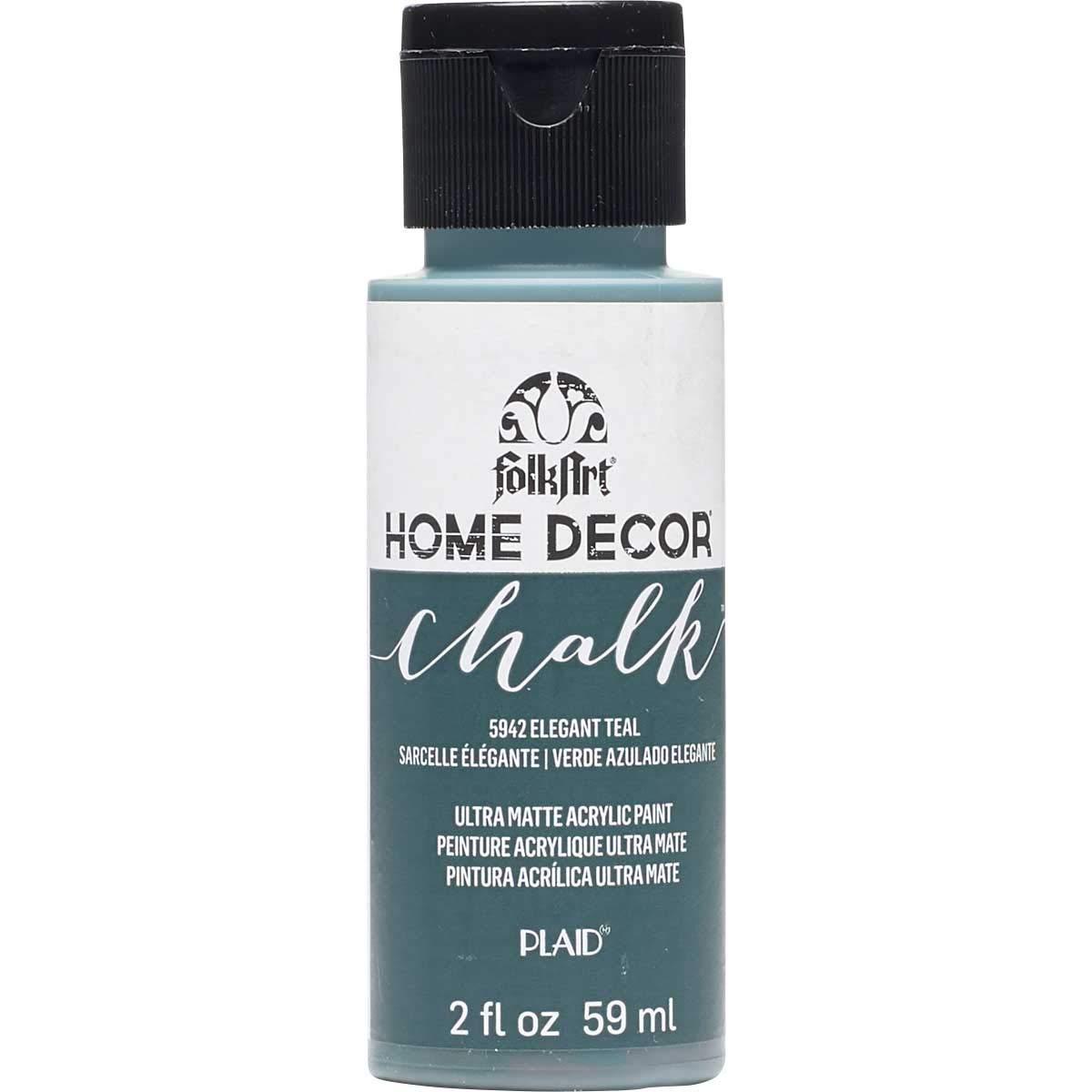 FolkArt 5942 Home Décor Chalk Furniture & Craft Paint in Assorted Colors, 2 oz, Elegant Teal