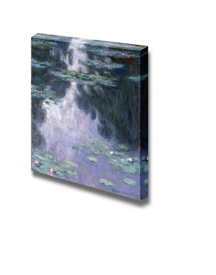 """wall26 - Water Lilies by Claude Monet - Canvas Print Wall Art Famous Painting Reproduction - 16"""" x 16"""""""